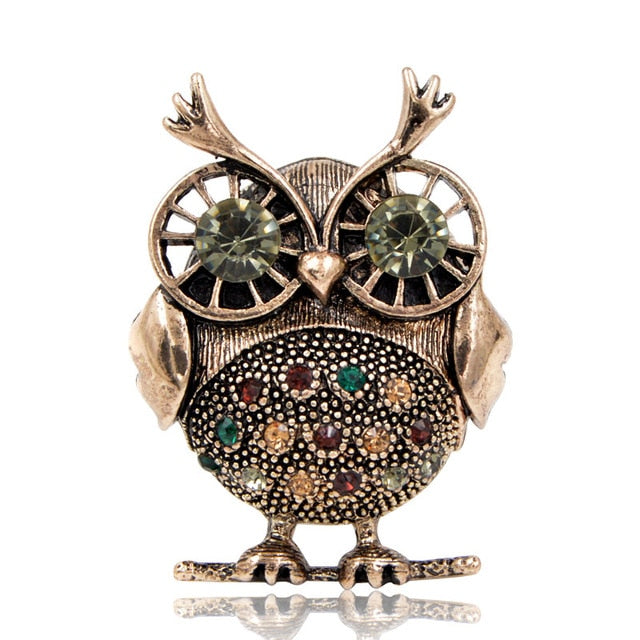 Brooch - Rhinestone Owl - Available in 2 colors)