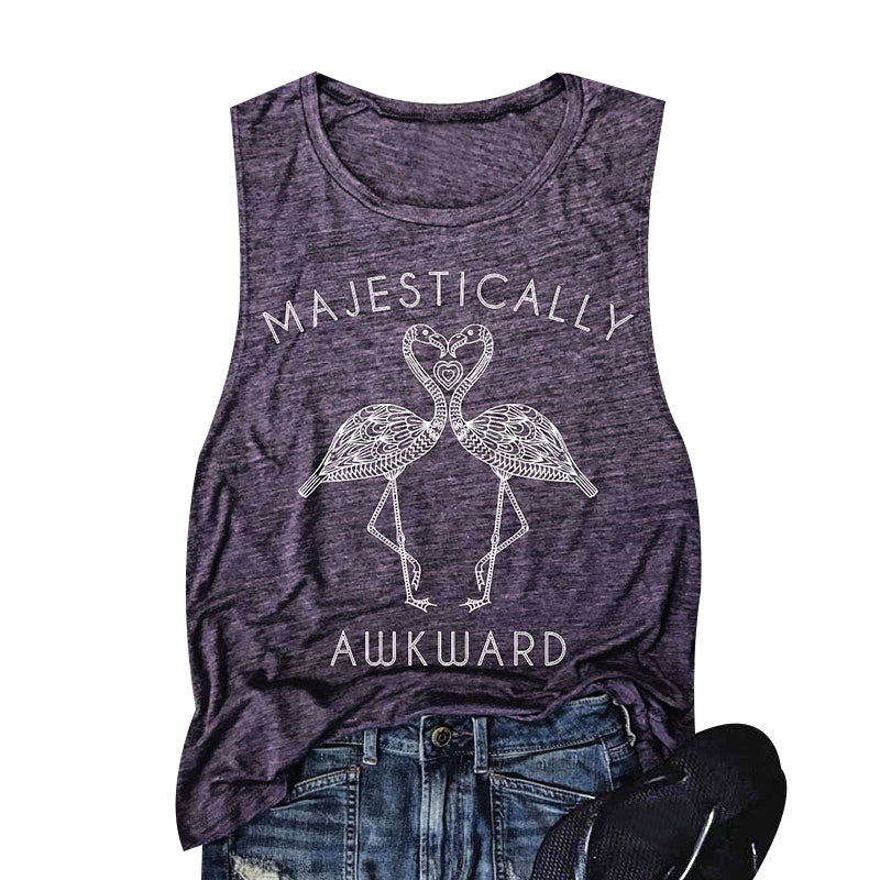 "Adorable ""Majestically Awkward"" Flamingo Tank Top - Now Available in 4 Colors"