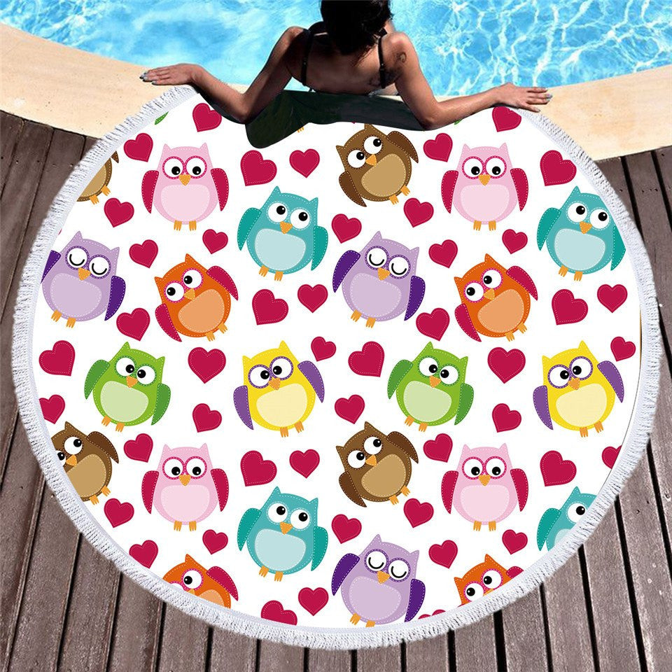 Microfiber Cartoon Owls Bath Towel or Beach Towel