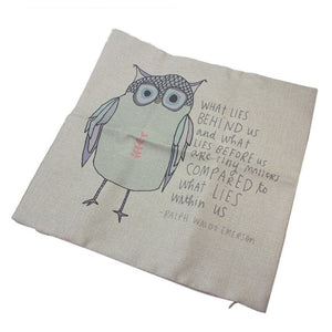 Cartoon Owl Linen Cotton Blended Cushion Cover