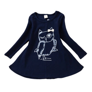 Girls Owl Long Sleeve Printed Dress - (Available in 2 Colors)