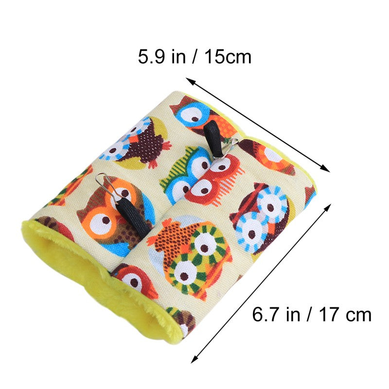 Small Tent Hideaway for Birds or Small Pets - Colorful Cartoon Owl Pattern