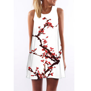 Sleeveless Floral Printed Women's Short Summer Dress