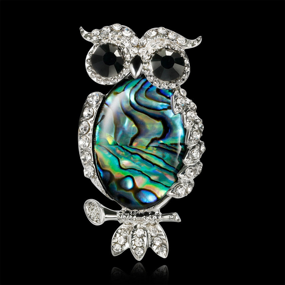 Brooch - Abalone Shell and Rhinestone Owl On a Branch