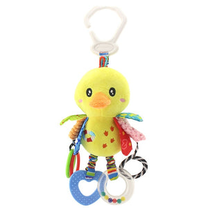 Baby Stroller Hanging Plush Toy With Rattles and Teethers - Available in Blue Bird or Yellow Duck