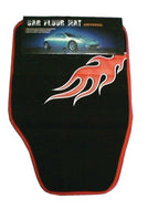 Car Floor Mat Set 5 Pcs Black / Red Flame Type