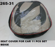 Car Seat Cover Set 11Pcs With Cushion Beige/ Black