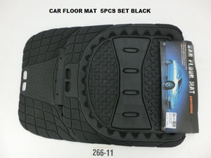 Heavy Duty Floor Mat Set Deep Trough Black 5Pcs