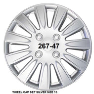 Wheel Cap Set of 4 Silver Thick Single Spoke 15Inch