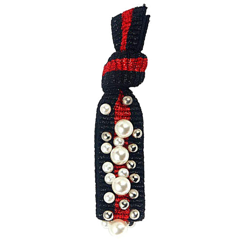 Gemelli Jewelry Pearl Stud Hair Tie with Vegan Pearls and Silver Ball Studs in Black with a Red Stripe