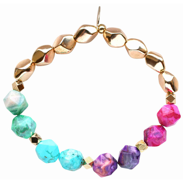 Beaded stretch bracelet with green agate, purple agate, pink agate, turquoise, and gold plated beads