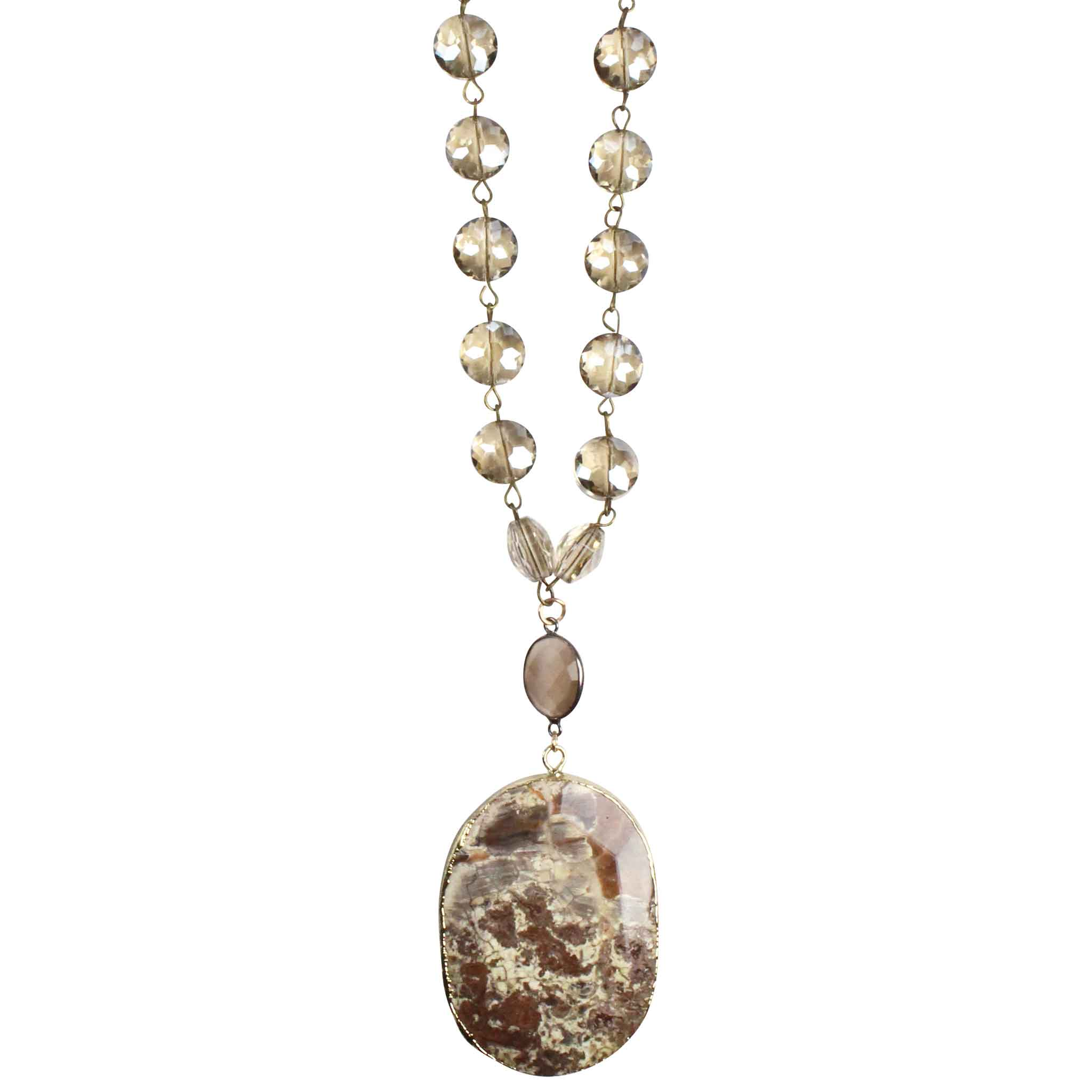 Crystal Beaded Long Layering Necklace with Moonstone and Brown Slab Agate Pendant