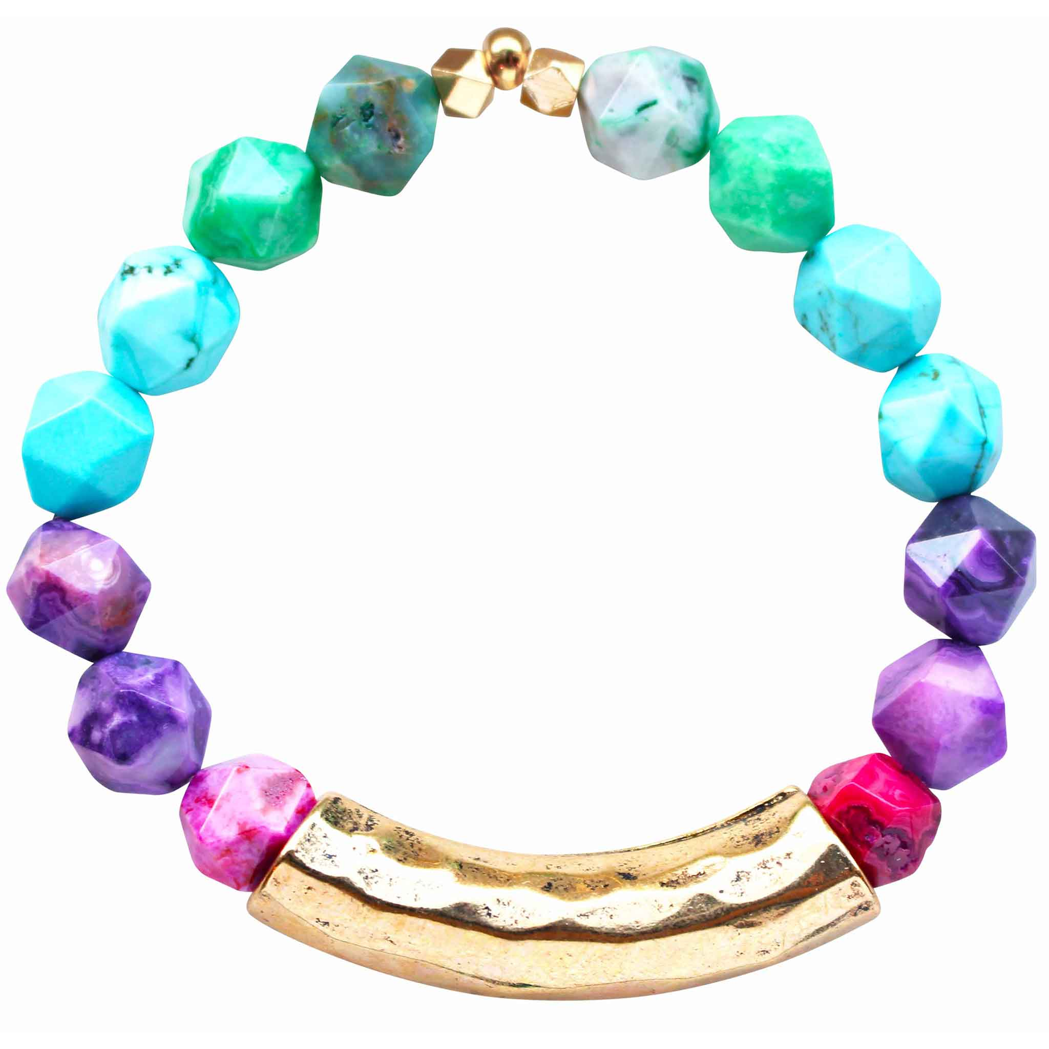 Beaded stretch bracelet with green agate, purple agate, pink agate, and turquoise beads and hammered gold plated bar