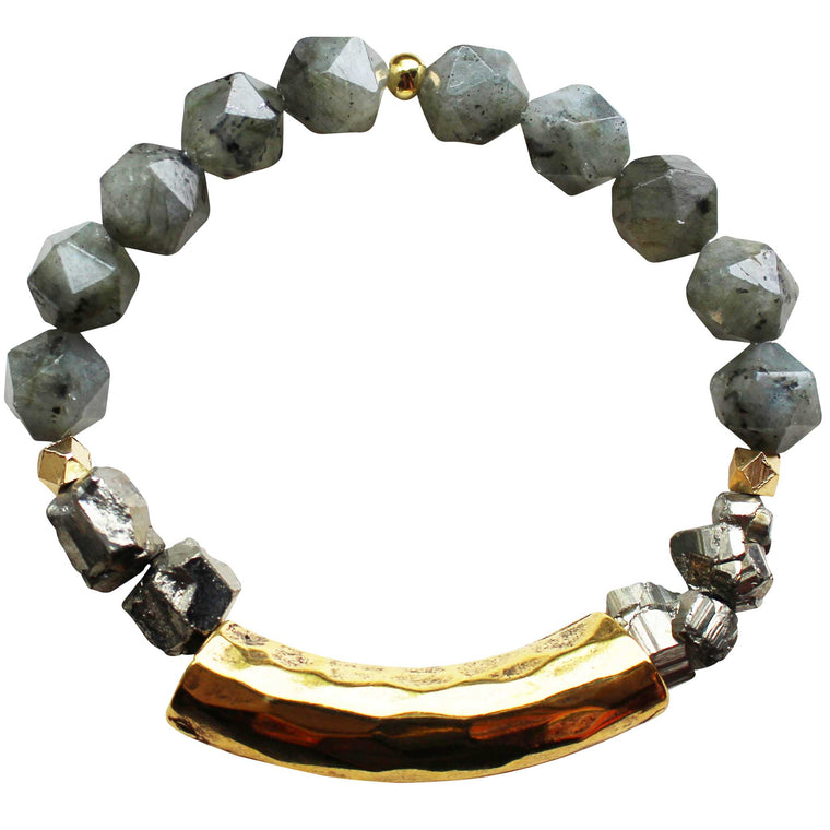 Hammered Bar Bracelet in Labradorite