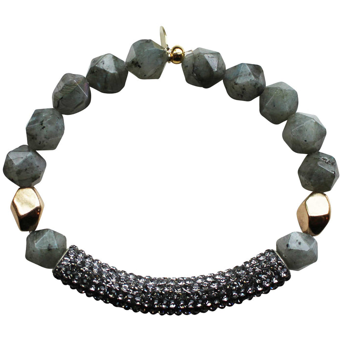 Beaded stretch bracelet with gray pave cubic zirconia (CZ) bar labradorite and gold plated beads