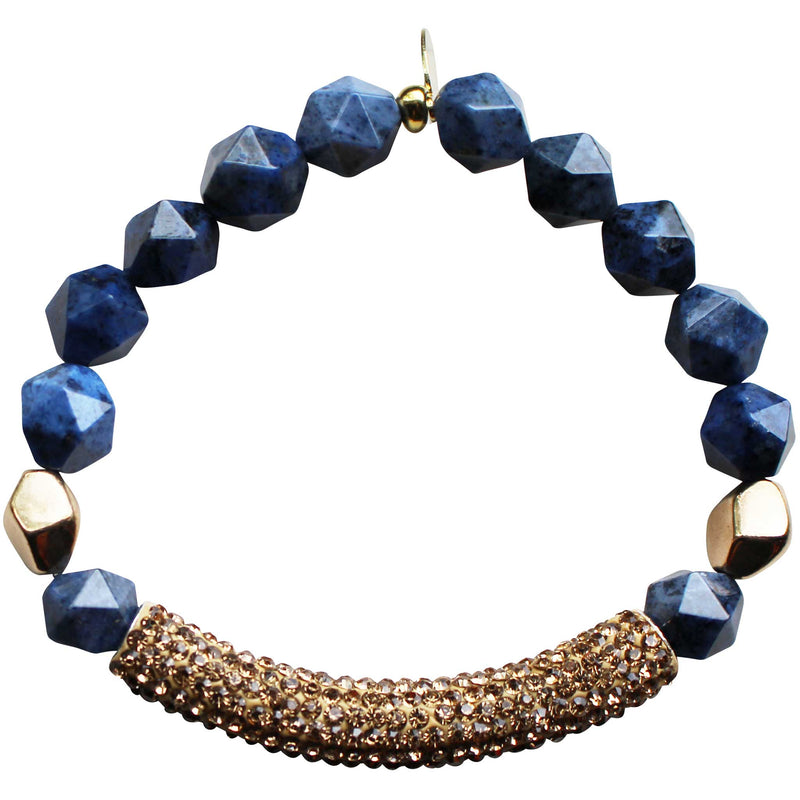 Beaded stretch bracelet with gold pave cubic zirconia (CZ) bar lapis lazuli and gold plated beads