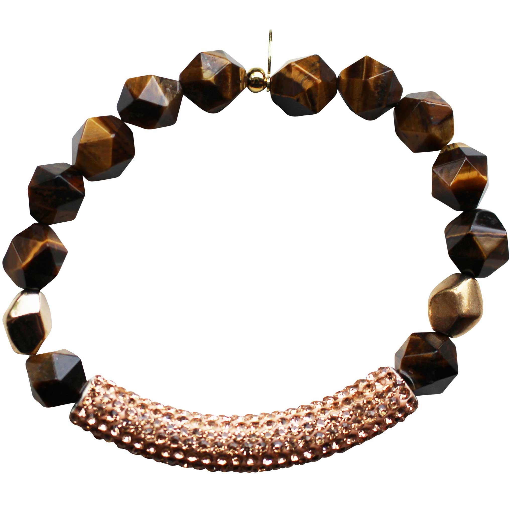 Beaded stretch bracelet with gold pave cubic zirconia (CZ) bar tigers eye and gold plated beads