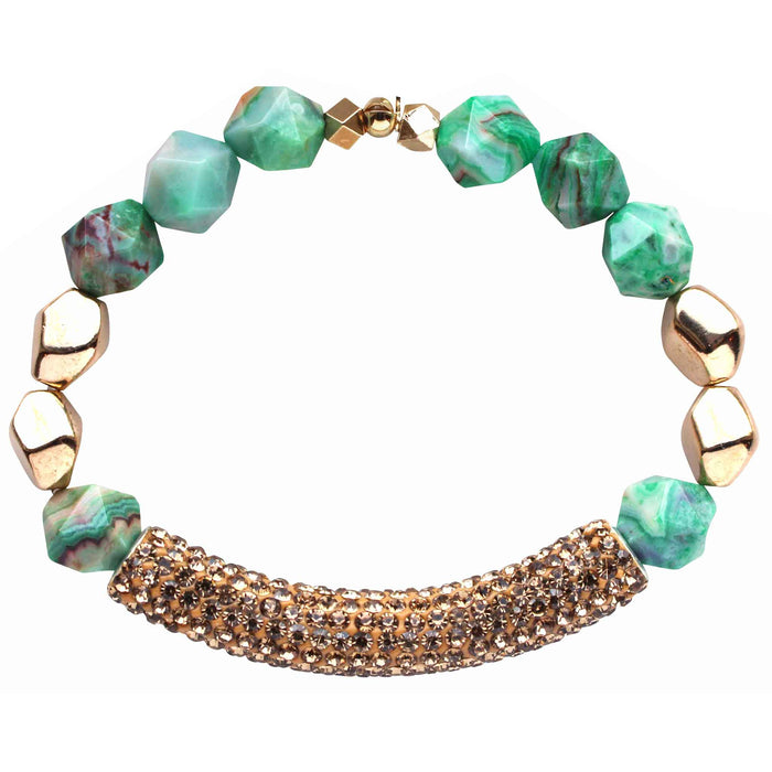 Beaded stretch bracelet with gold pave cubic zirconia (CZ) bar green agate and gold plated beads