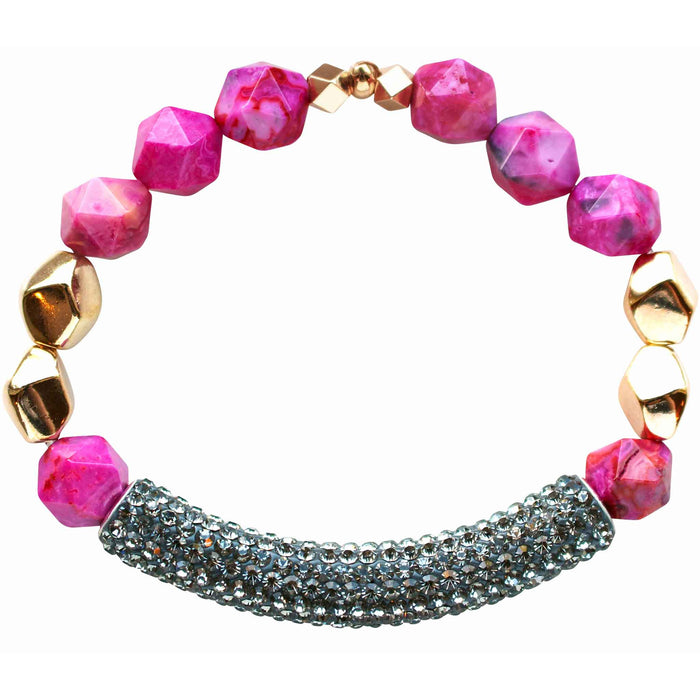 Beaded stretch bracelet with gray pave cubic zirconia (CZ) bar pink agate and gold plated beads