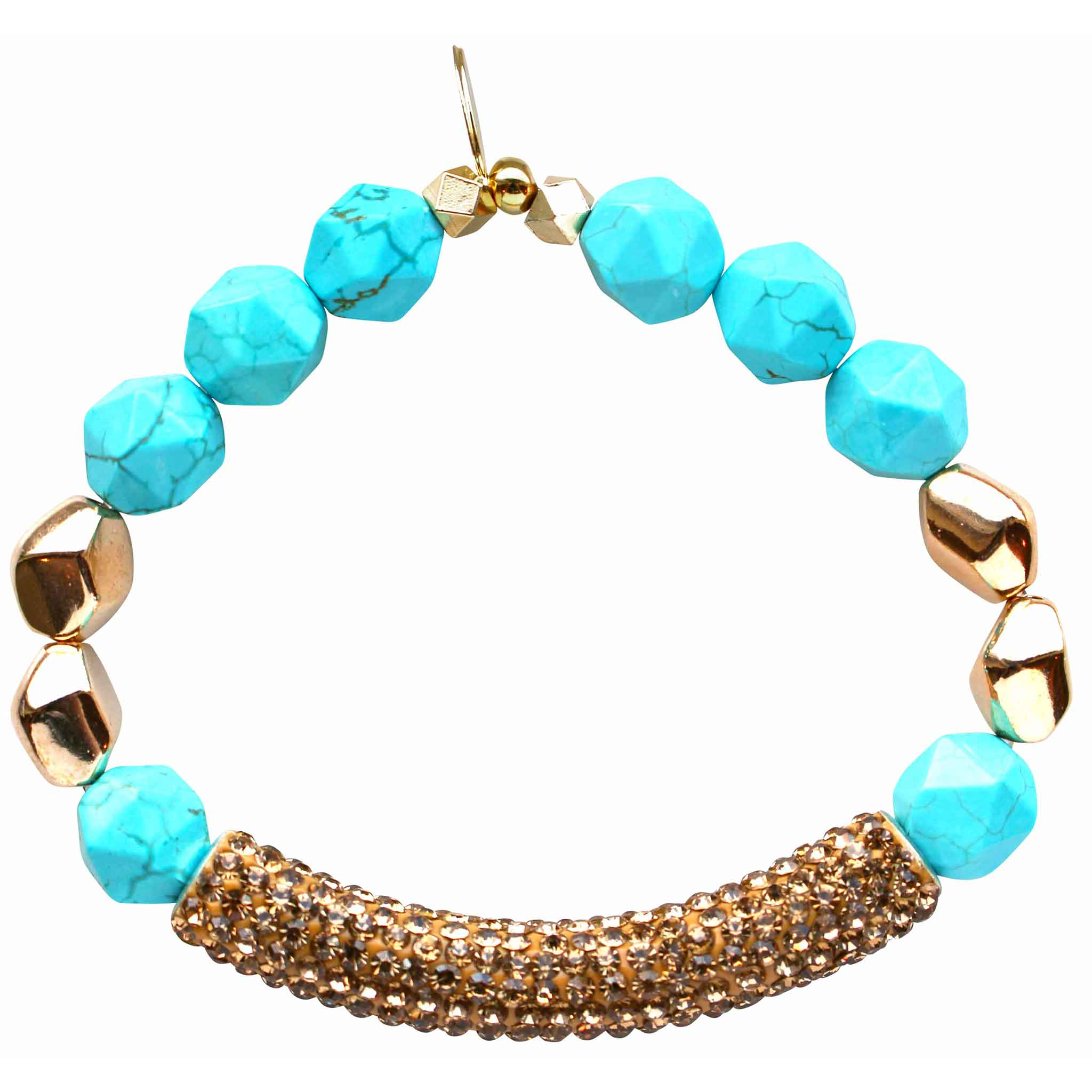 Beaded stretch bracelet with gold pave cubic zirconia (CZ) bar turquoise and gold plated beads