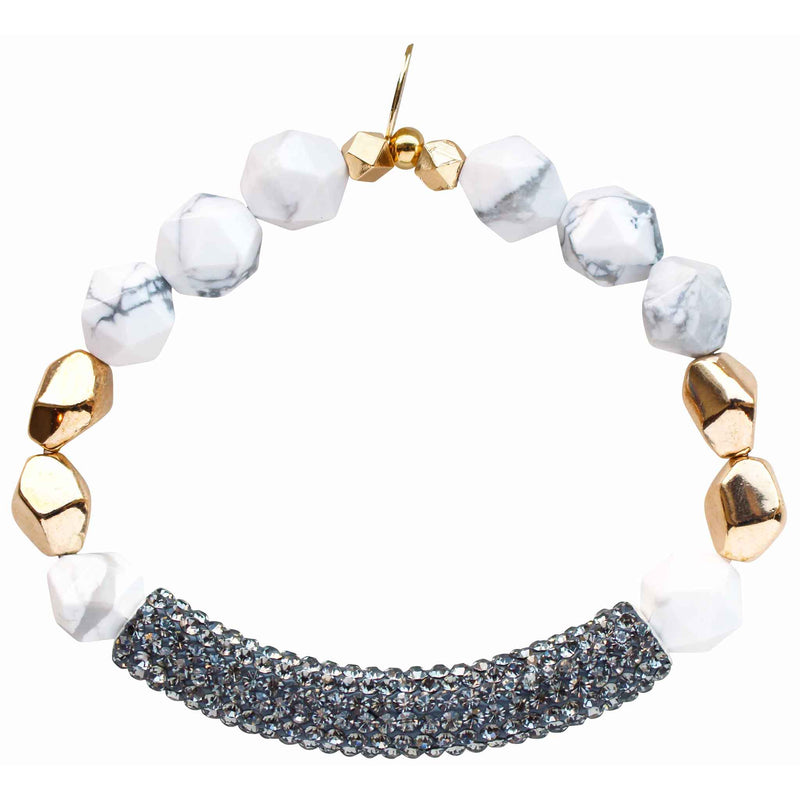 Beaded stretch bracelet with gray pave cubic zirconia (CZ) bar white howlite and gold plated beads