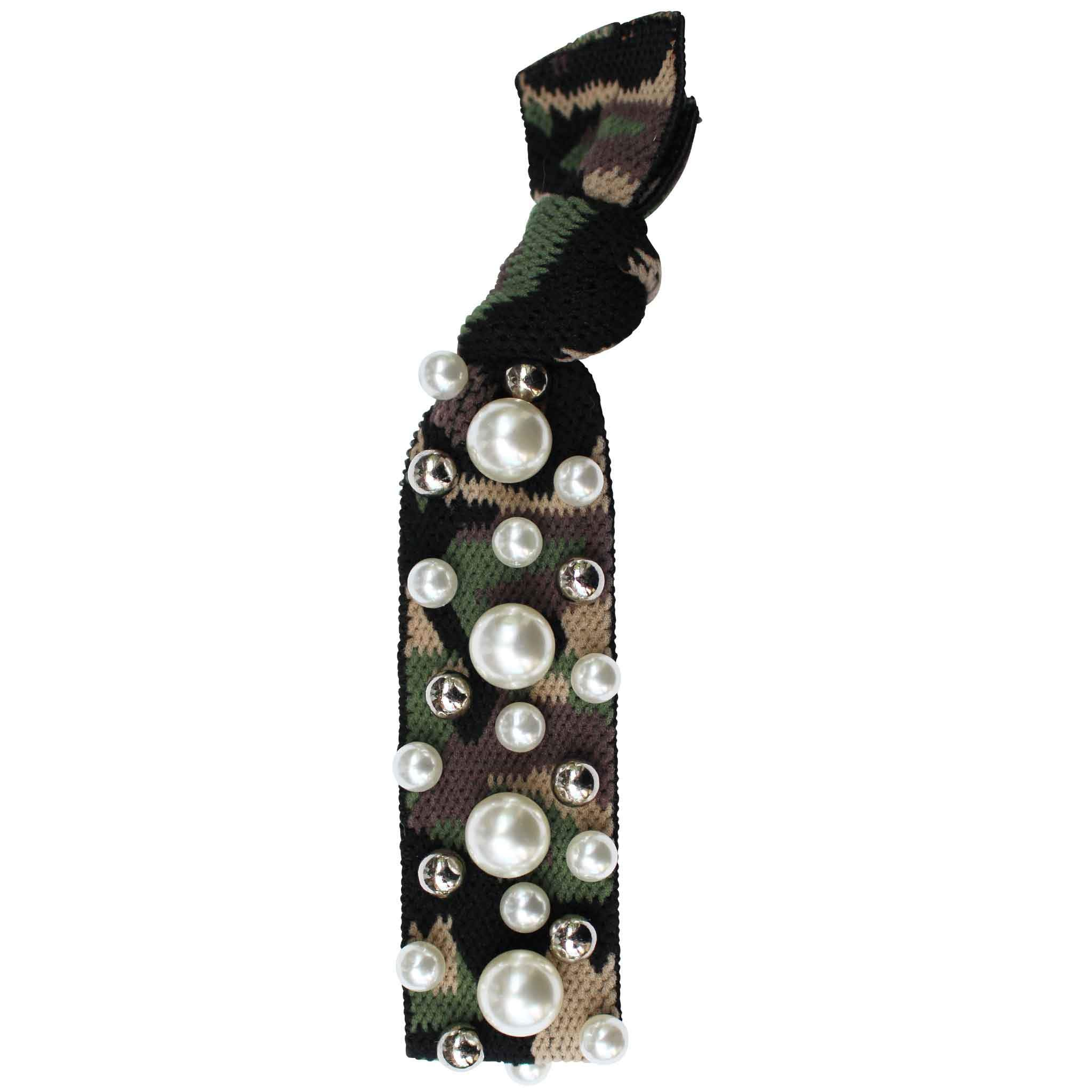 Gemelli Jewelry Hair Tie with Vegan Pearl and Silver Ball Studs in Green Camo Print