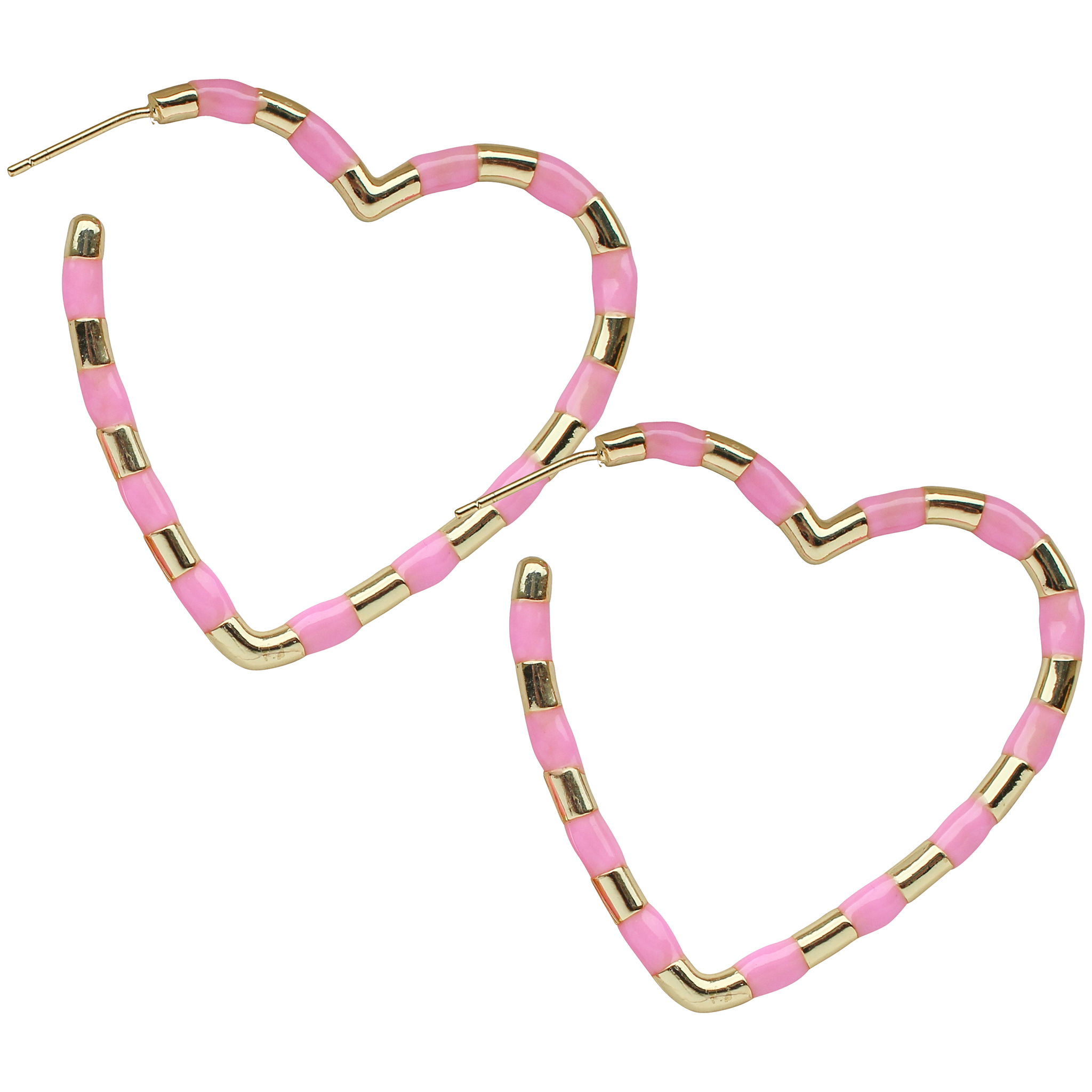 Heart Enamel Hoop in Pink