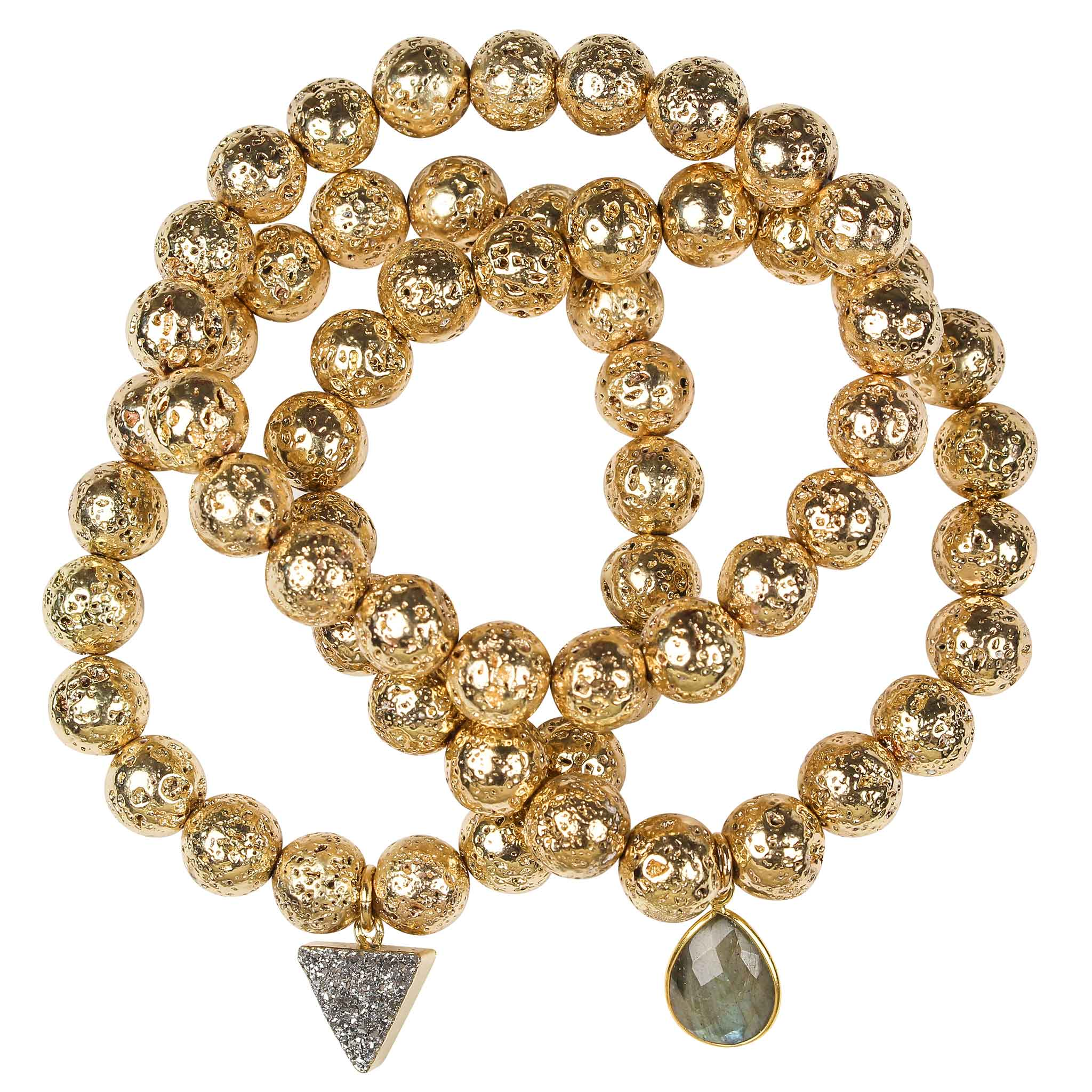 Gold plated lava rock beaded stretch three bracelet set with gray druzy triangle and labradorite gem drop