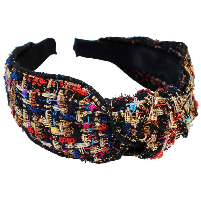 Gemelli Tweed Knotted Headband in Black Side View