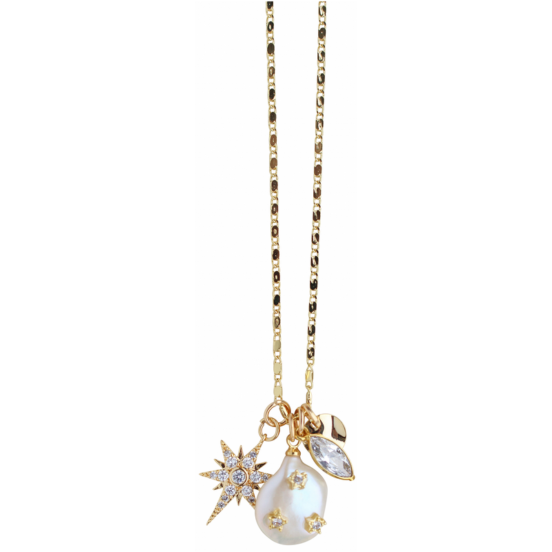 Charmy Necklace in Pearl
