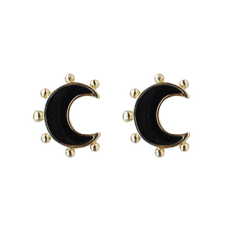 Enamel Moon Stud in Black