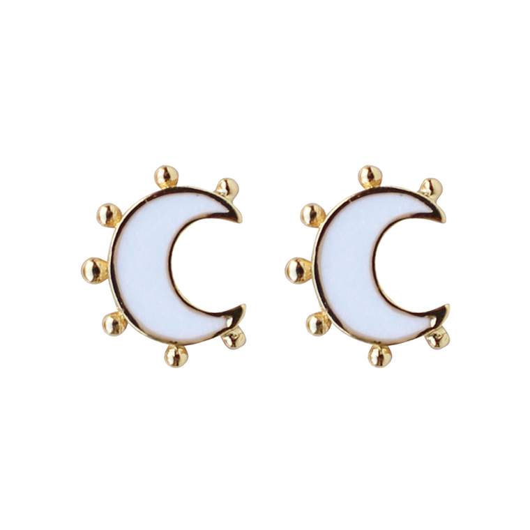 Enamel Moon Stud in White