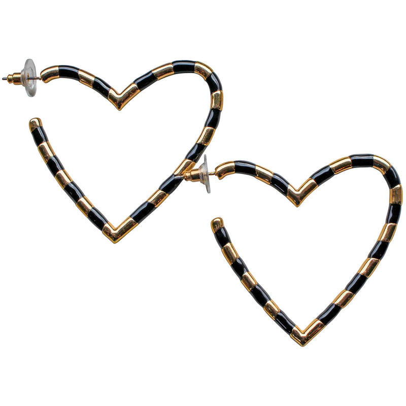 Heart Enamel Hoop in Black