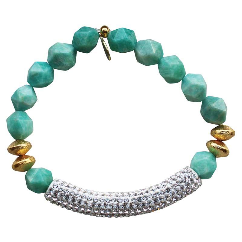 Beaded stretch bracelet with clear ice pave cubic zirconia (CZ) bar amazonite and gold plated beads