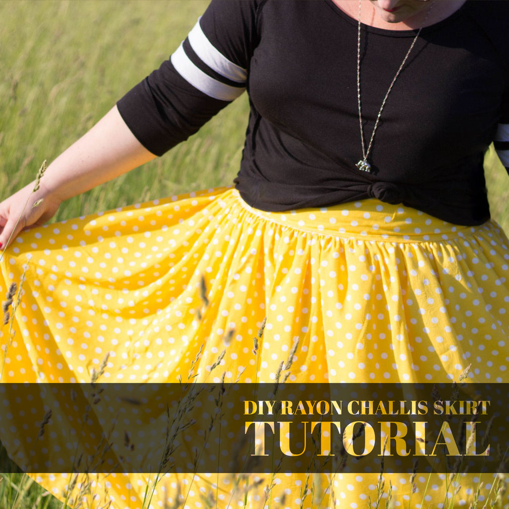 DIY Rayon Challis Gathered Skirt Tutorial by Jessica Higginbotham