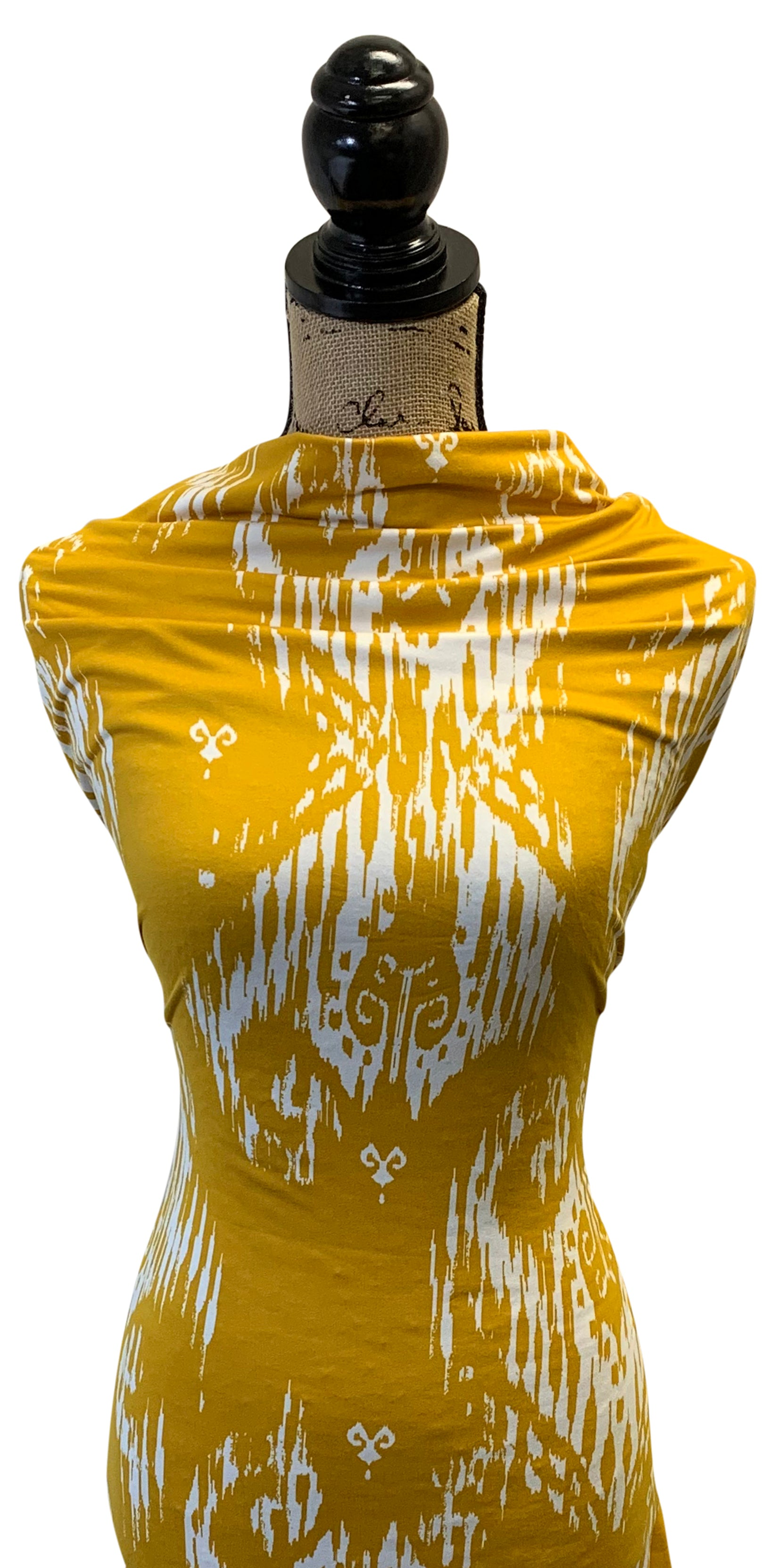 Double Brushed Poly - Ikat in Mustard