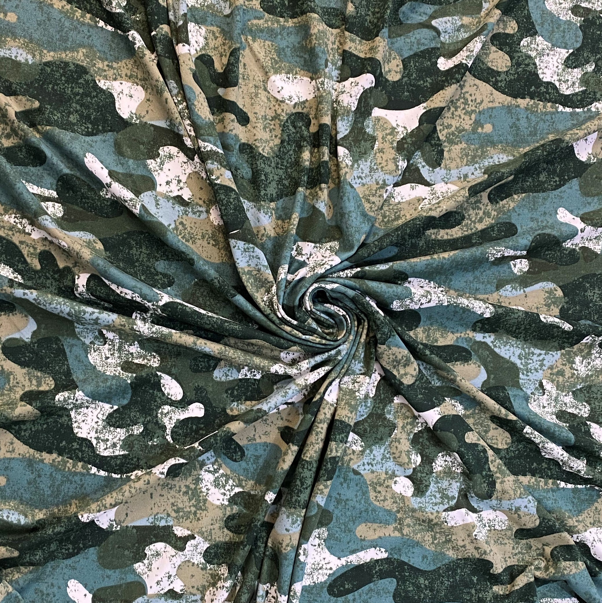 Double Brushed Poly - Camo - Faux Burnout