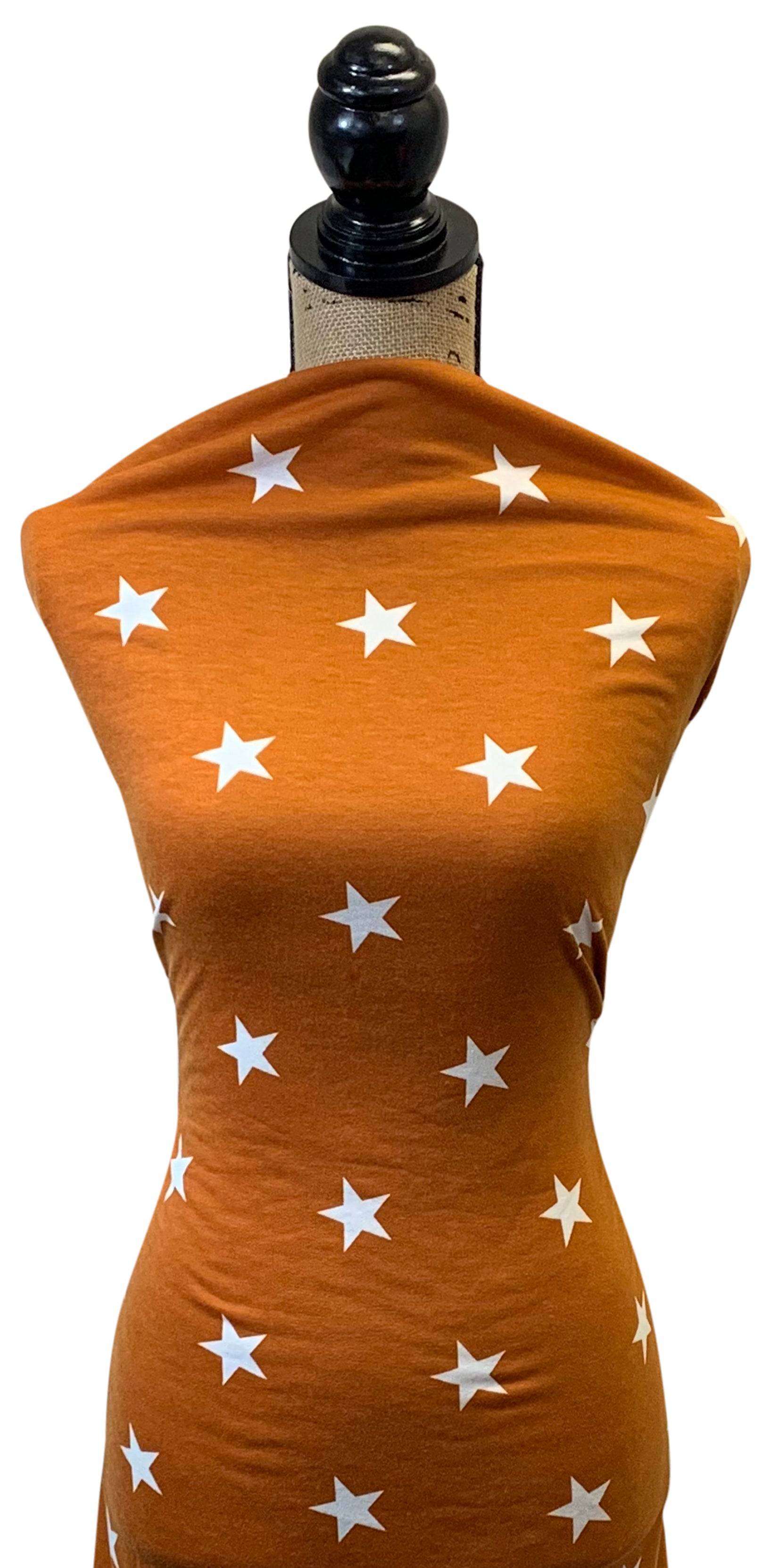 French Terry Star Print - Terracotta