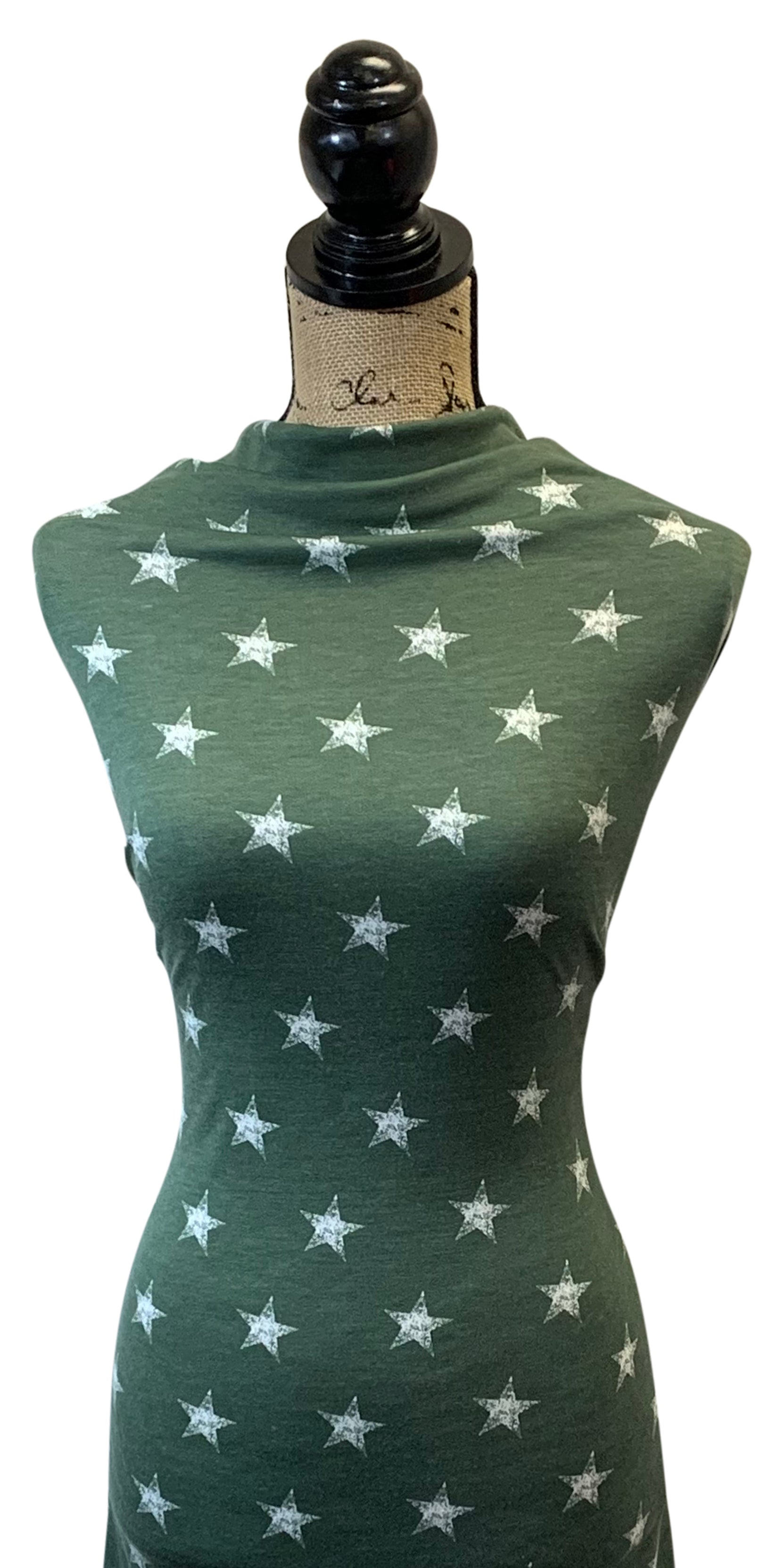 French Terry Star Print - Sage