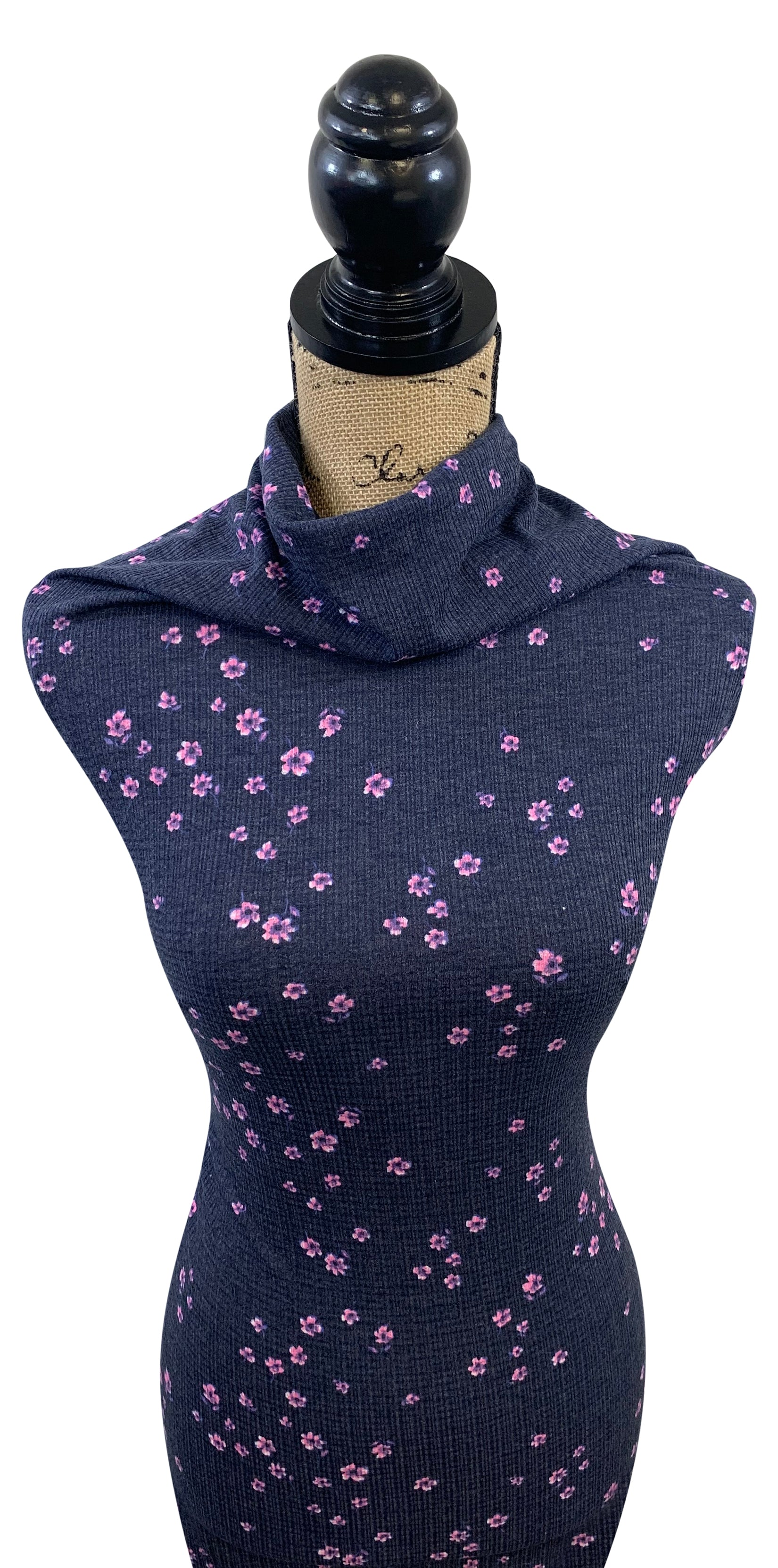 Pointelle Rib Knit - Navy Floral