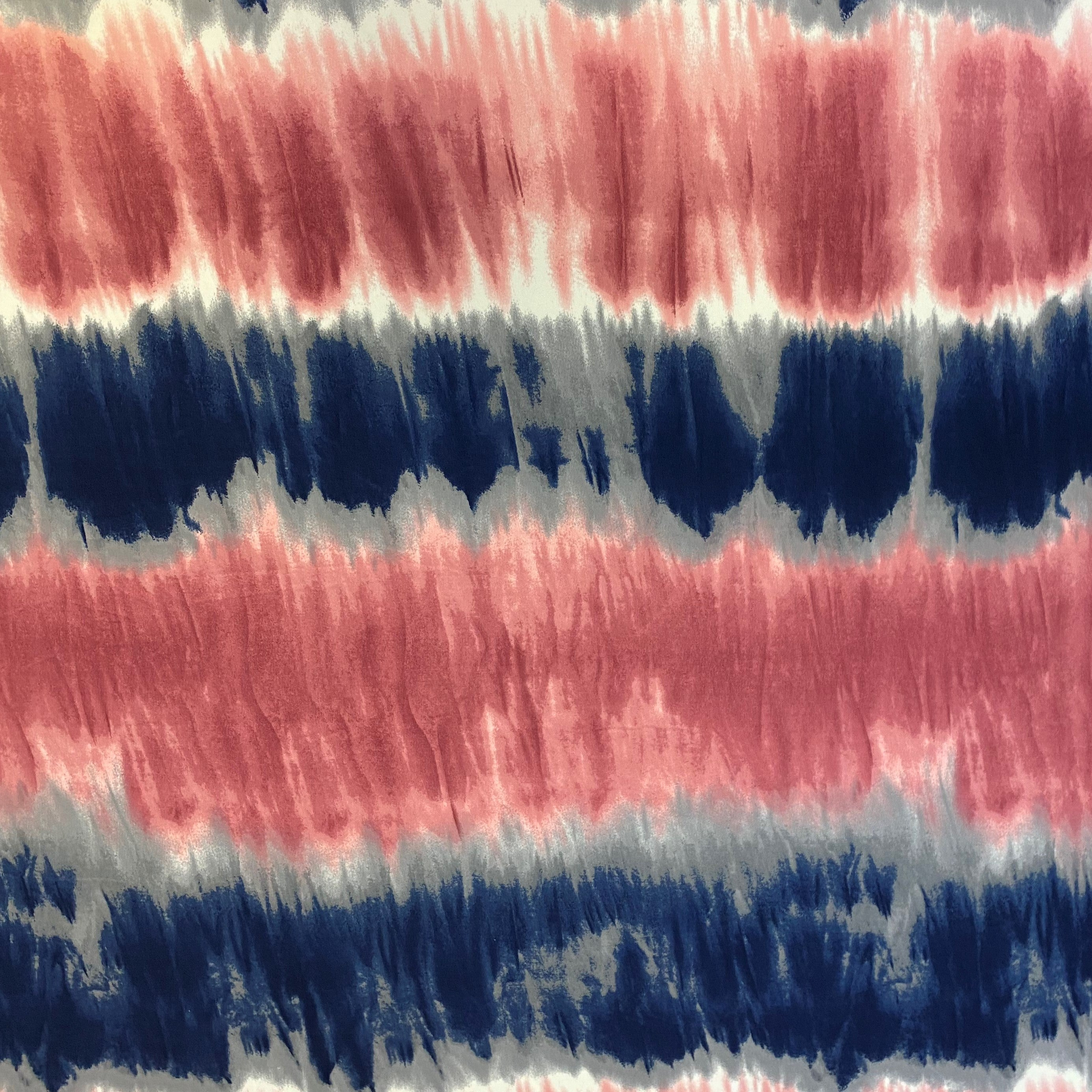 Double Brushed Poly - Tie Dye Print in Navy & Mauve