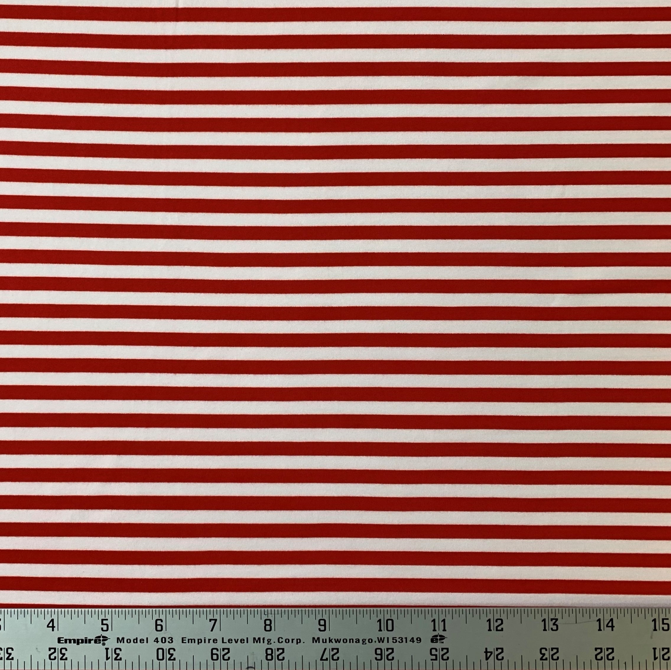 Double Brushed Poly Stripe - Red