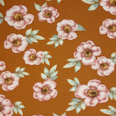 LAK  -  Double Brushed Poly  -  Pink Flowers on Orange