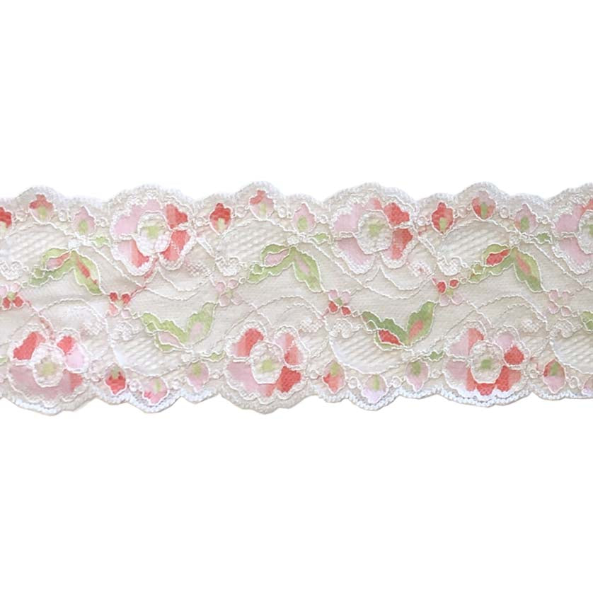 "Stretch Trim Lace - 3"" Two-Tone Pink & Green"