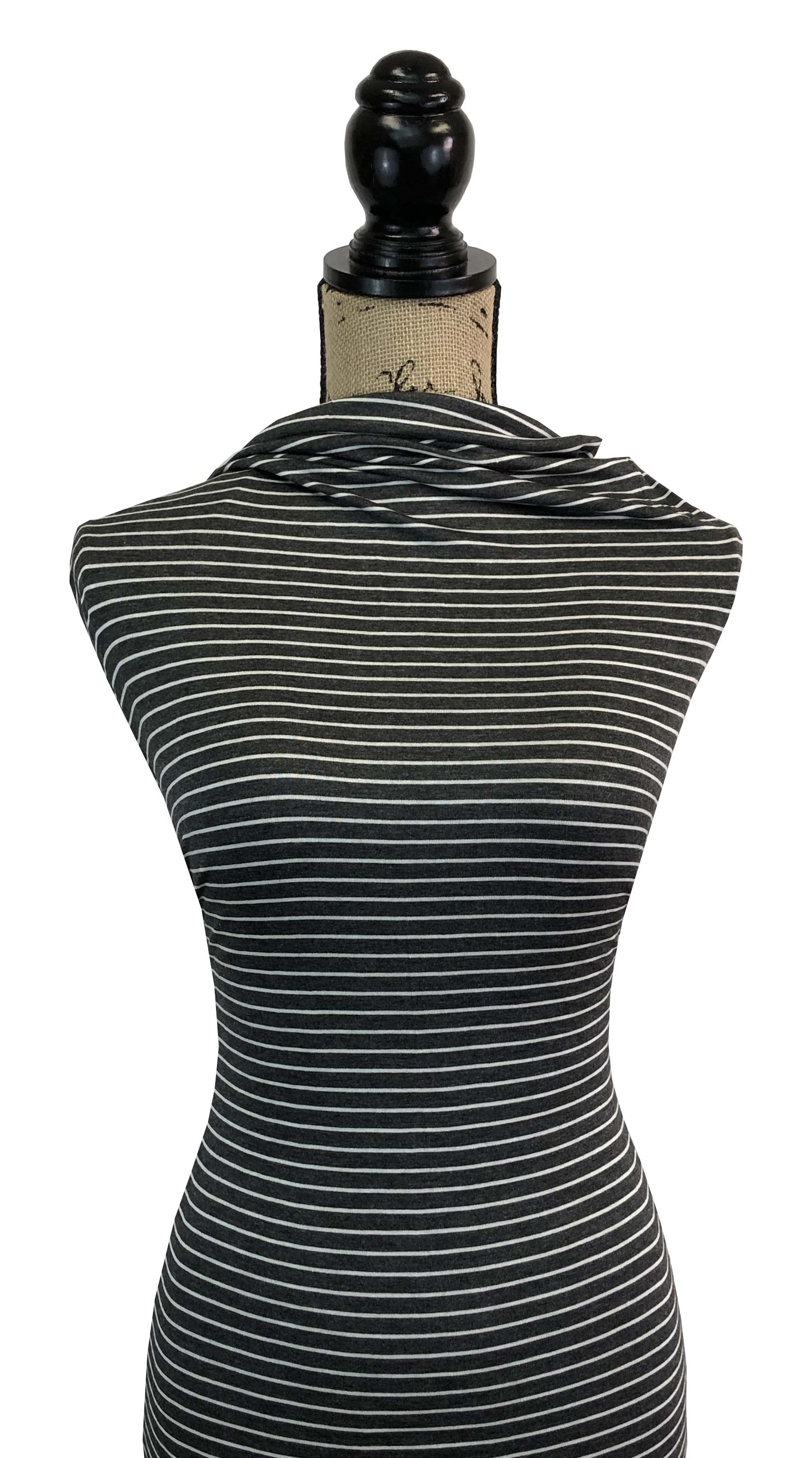 Rayon Spandex Stripes - Charcoal & Ivory