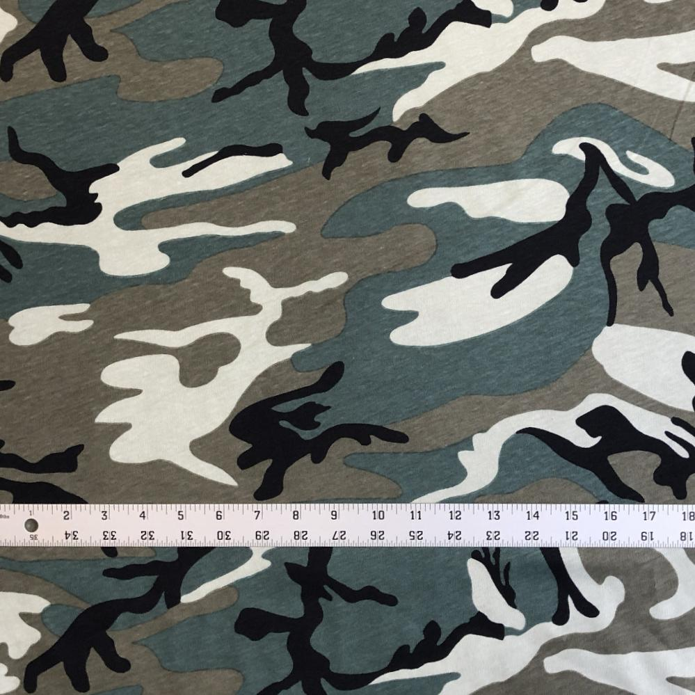 T-Shirt Jersey Knit Camo - Olive Green