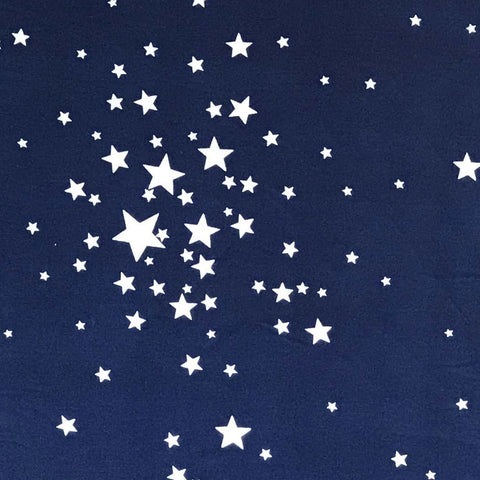 Double Brushed Poly Stars - Navy
