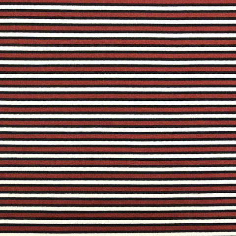 Double Brushed Poly Stripes (Sly Buy) - Burgundy, Black & Ivory