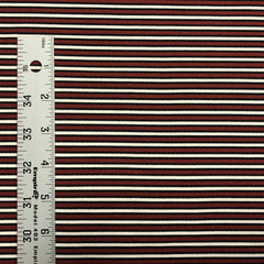 Double Brushed Poly Stripes - Burgundy, Black & Ivory