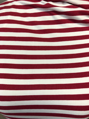Double Brushed Poly Stripes - Maroon & Ivory